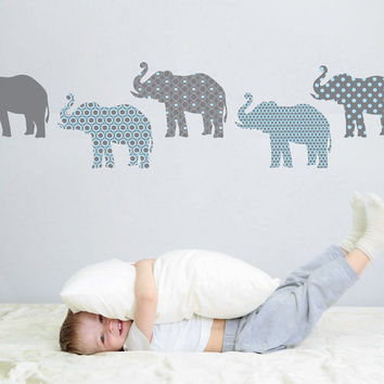 Eight Patterned Gray and Baby Blue Elephant Wall Decals