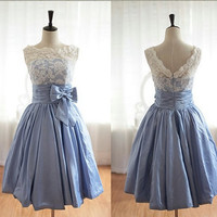 Homecoming Dress,V-back Lace Sweetheart Bowknot Short Prom Dress
