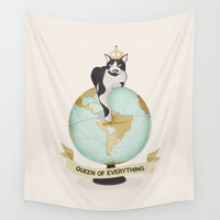 CAT - THE QUEEN OF EVERYTHING Wall Tapestry by Je Suis Un Lapin