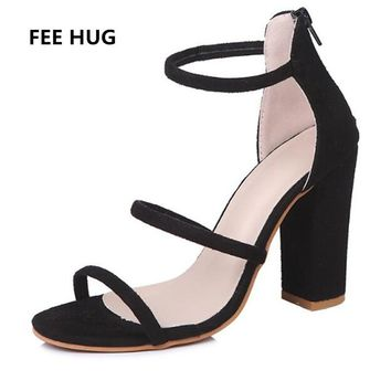 FEE HUG Summer Sexy Bandage Sandals For Woman Casual Woman's Peep Toe High Heels Sandals Ladies Shoes Ankle Strappy Size 34-43