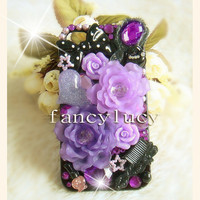 iphone 4 Case - iphone 4 cover - cute iphone 4 case - Purple flower iphone 4 case - best iphone 4 case - cute iphone 4s case purple rose