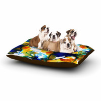 """Sonal Nathwani """"Blue Orange Floral"""" Abstract Watercolor Dog Bed"""