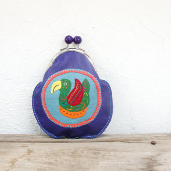 Leather Bird Wallet Kiss lock Wallet Mola Applique Purple Leather