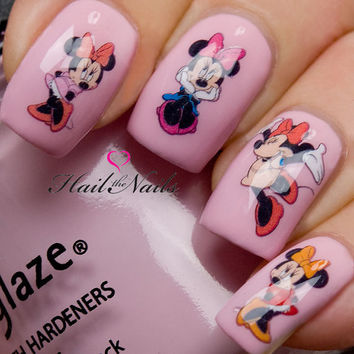 Nail Art Water Transfers Decals Wraps Minnie & Bows Y818