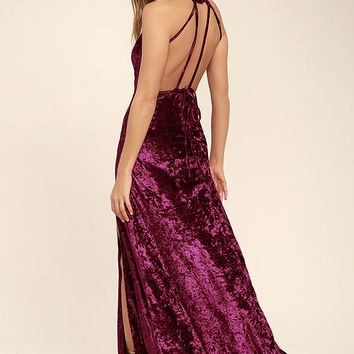 Sway My Options Magenta Velvet Maxi Dress