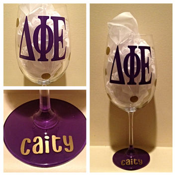 Delta Phi Epsilon, DPhiE, Personalized Wine Glass, Sorority Wine Glass, Custom Wine Glass, Big WIne Glass, Little Wine Glass