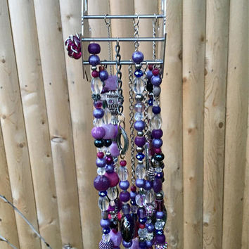 Silver Purple Bead Mobile, Tea Pot Decoration, Repurposed Jewelry Sun Catcher, Beaded Wind Chime, Upcycled Garden Art, Kitchen Window Decor