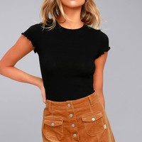 Rhythm Pennylane Tan Corduroy Mini Skirt