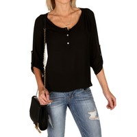 Black Gathered Back Chiffon Top
