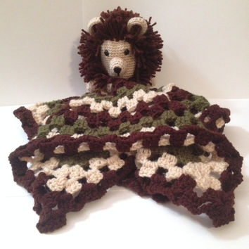 Handmade Crocheted Lovey with Lion Head - Any color & 3 sizes Available