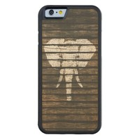 Whimsical White Elephant Vintage Brown Stripe Wood Carved® Maple iPhone 6 Bumper Case