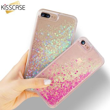 KISSCASE Phone Case For iPhone 7 8 Plus Cover Pelicula Liquid Quicksand Glitter Case For iPhone 6 6s Plus Cute Patterned Cases