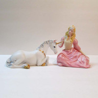 Princeton Gallery Lenox Uincorn and Maiden Gold Trim & Porcelain Love's Innocence