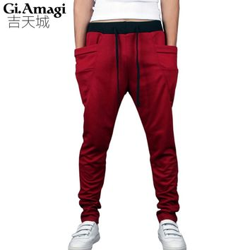 2015 Slim Drawstring elastic waist Brand Sweatpants Trousers Men Harem Pants, Men'S Big Pocket Man Cargo Joggers