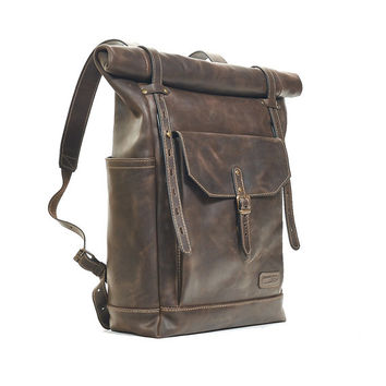 Dark brown leather backpack. Artificially aged leather backpack with top zipper closure. Hipster backpack. Leather bag. Leather rucksack.