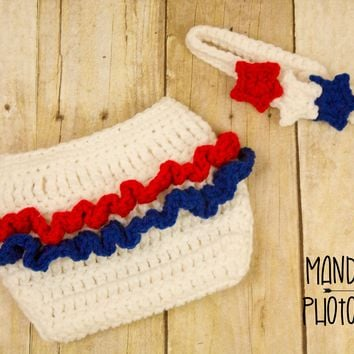 Patriotic Crochet Diaper Cover with Ruffles and Headband with Stars Set