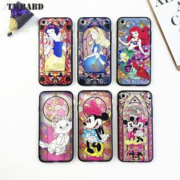 For Fundas iPhone 6S Plus Mobile phone shell embossed painted Mickey Mouse Alice mermaid electroplating Case for iPhone 6 Plus