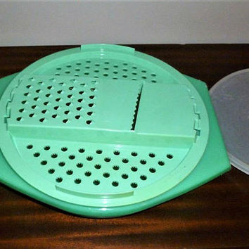 Vintage 1960s Three (3) Piece Tupperware Jadeite Grater, Slicer, Strainer, Colander, Food Storage Set / Seal Lid / Retro Tupperware Storage