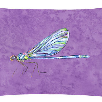 Dragonfly on Purple   Canvas Fabric Decorative Pillow