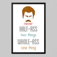Funny Ron Swanson Print - Ron Swanson Quote - Inspirational Quote Print - Parks and Recreation Print - Parks and Rec