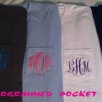 MONOGRAMMED POCKET TEE , Personalized Unisex fit  pocket tee, Monogram included in price