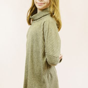 lil' belle rubbed cowl neck sweater - brown