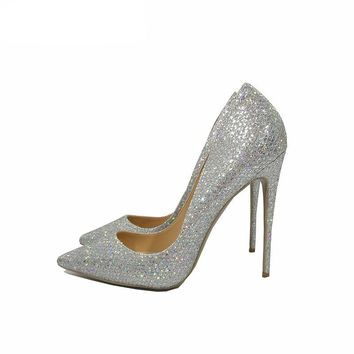 Spring/Autumn wedding shoes bride silver sexy high heels pumps women shoes heels pumps 12cm pointed toe stiletto