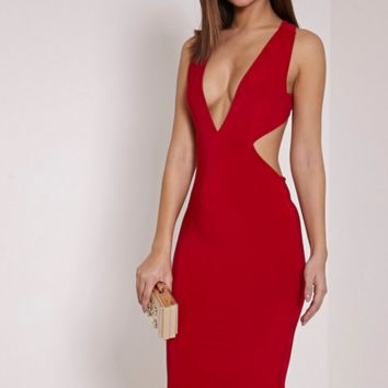 CUTE DEEP V SEXY WAIST HOLLOW OUT DRESS