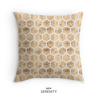 Rose Gold Pillow Cover,HoneyComb Pillow, Hexagon Pillow, Decorative Pillow, Cushion Cover,Faux Rose Gold Foil, Home Decor, NewSerenityStudio