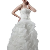 Hhdress White Strapless Lace Appliqued Bridal Ball Gown Dress