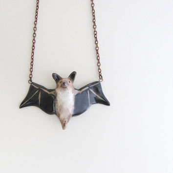 bat in flight necklace made to order by HandyMaiden on Etsy