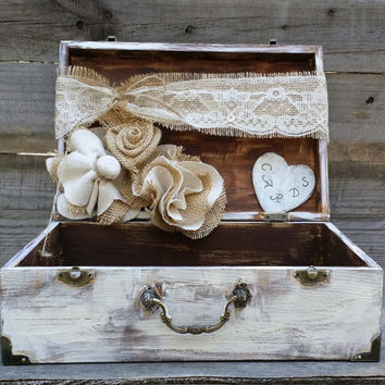 rustic wedding card box personalized box shabby chic box baby