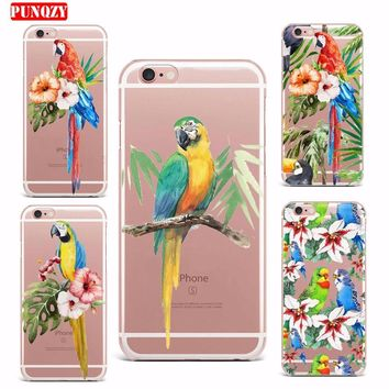 Case For iPhone 7 7 Plus Case Soft TPU Smart Mobile Phone Shell Pattern Cute Protect Case Patterned Exotic Flower The Parrot