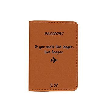If You Can't Live Longer Live Deeper [Name customized] Passport Holder - Leather Passport Cover - Travel Accessory- Travel Wallet for Women and Men_Matrioshka