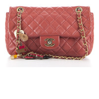 Chanel Limited Edition Coral Lambskin Cruise Charm Medium Flap Bag