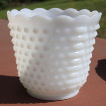 Hobnail White Milk Glass Vase Bowl Oven Ware 18 USA