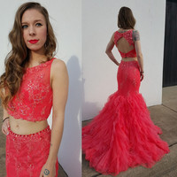 2016 Red Two Piece Mermaid Celebrity Prom Dresses Graduation Party Gowns pst0270