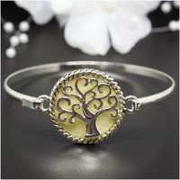 Mother-Of-Pearl Tree of Life Gold-Plated Bangle Bracelet