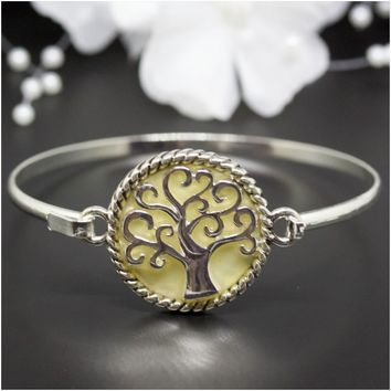 Mother-Of-Pearl Tree of Life Gold-Plated Bangle Bracelet b637a8f85