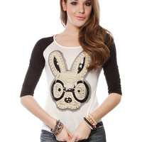 Papaya Clothing Online :: HIPSTER BUNNY RAGLAN SLEEVE TOP
