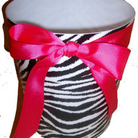 Zebra Print Waste Basket - Trash Can - Black & White - with Hot Pink Ribbon and  Bow