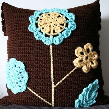 Brown Blue and Yellow Crochet Flower Pillow Cover