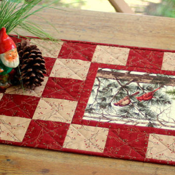Christmas Table Runner Quilted Cardinal Topper Rustic Cabin Decor
