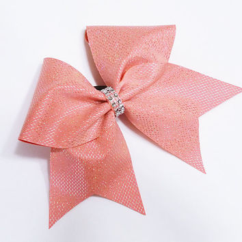 Cheer bow, Coral cheer bow, sequin cheer bow, cheer camp bow, cheerleader bow, cheerleading bow, cheerbow,softball bow, pop warner cheer bow