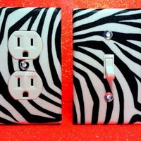 Zebra Print (Set of 2) Wall Plates Any Style Outlet Cover Light Switch.
