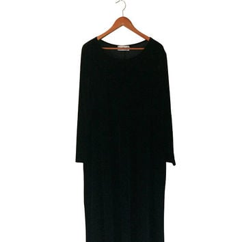 Plus Size Maxi Dress Plus Size Black Dress Plus Size 2X Black Velvet Dress Velour Dress Black Maxi Dress Black Long Sleeve Dress 90s Dress