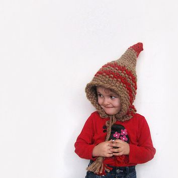 Elf Pointed Wool Hat, Dwarf Hat, Children Hat, Knit Hat by Solandia, winter fantasy bulky knitting accessories, beige and red stripes