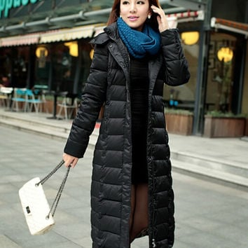 Women winter coat Long down jacket Women Slim Long thick warm winter jacket plus size women knee winter jacket women parka DM012