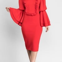 Red Ruffle Falbala Bell Sleeve Bodycon Banquet Elegant Party Pencil Midi Dress