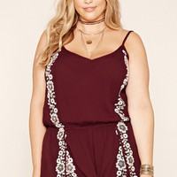 Plus Size Embroidered Romper